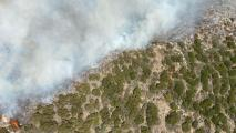 An aerial view above of the Tussock Fire boundary