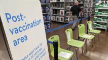 A post-vaccine waiting area at a Phoenix Walmart