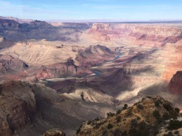 Atop the Desert View Watchtower at the Grand Canyon.