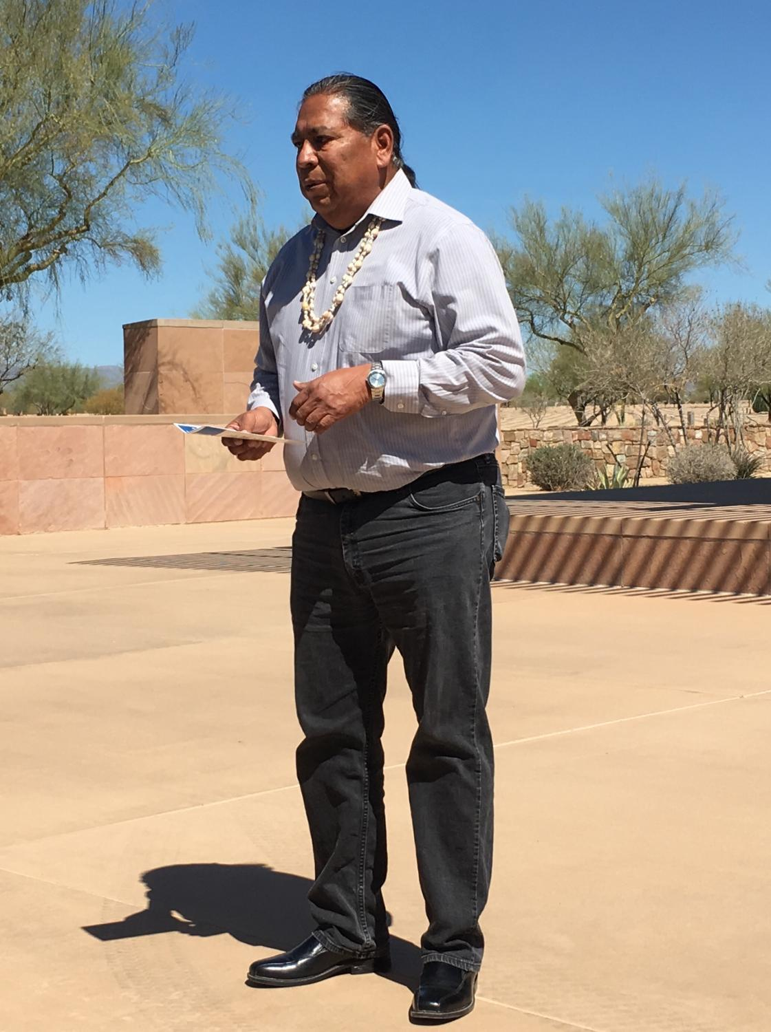 Lt. Gov. Robert Stone of the Gila River Indian Community addresses the family in the O'otham language.