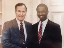 Photo of Vernon Parker with President George H.W. Bush
