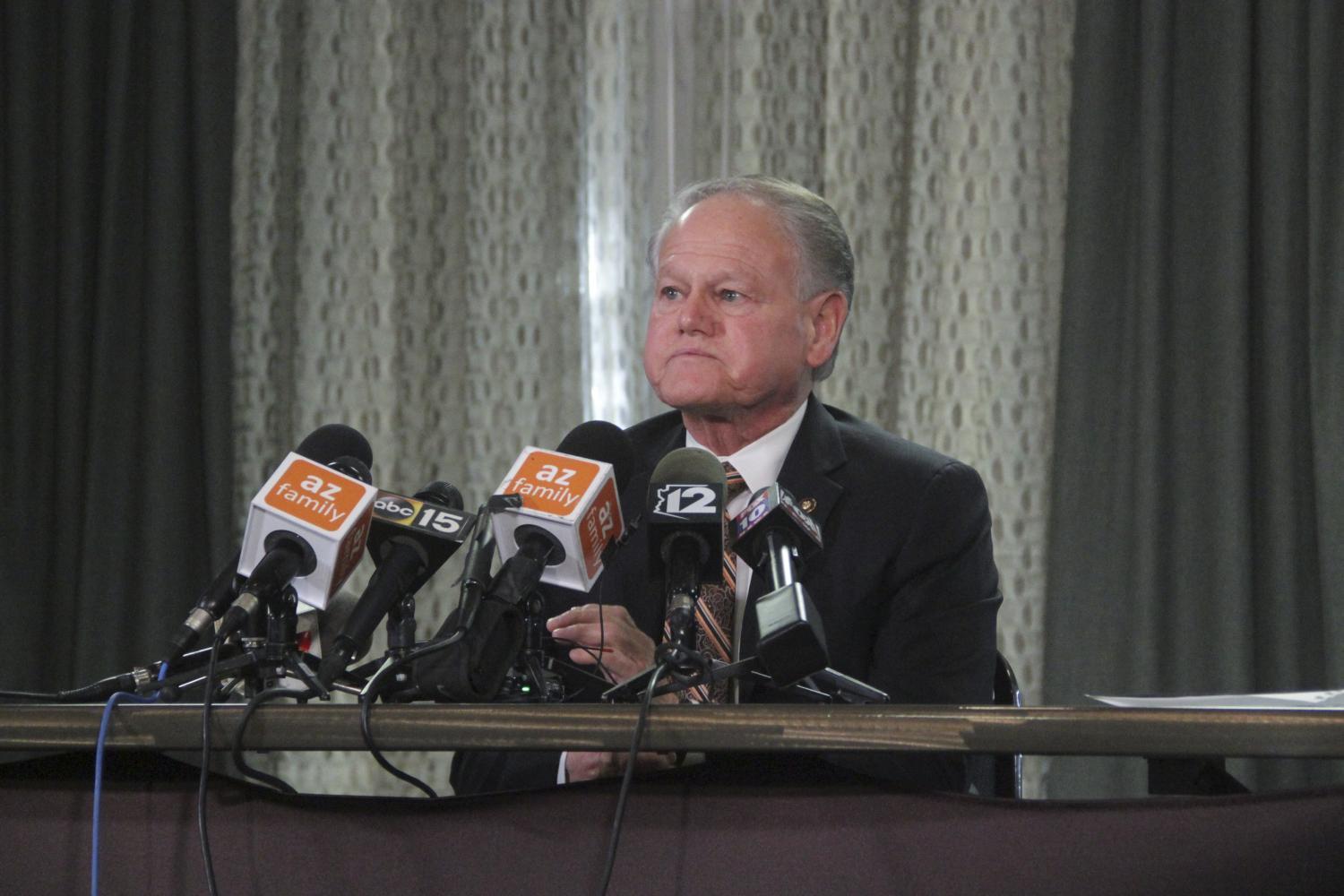 Rick Romley speaks at a press conference Monday, Jan. 14, 2019