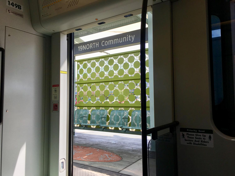 19North sign through train door