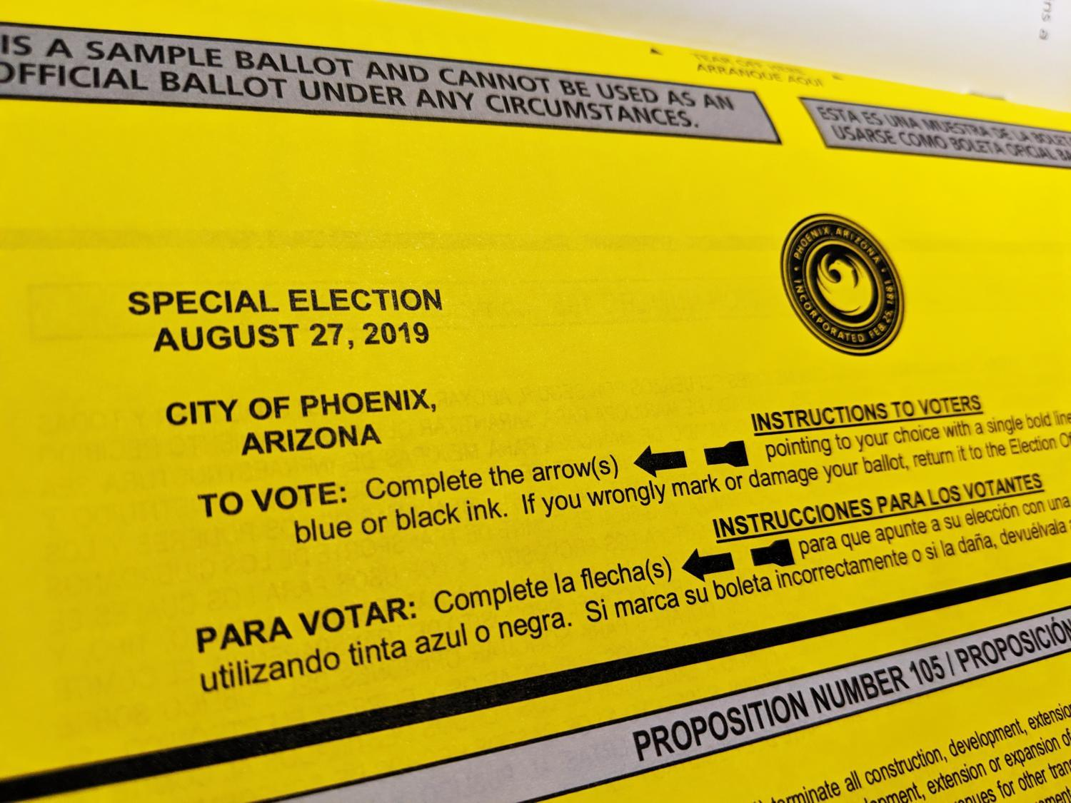 Phoenix special election sample ballot