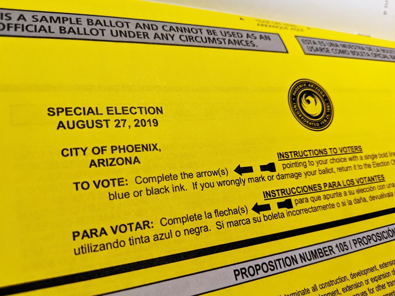 Phoenix special election sample ballot