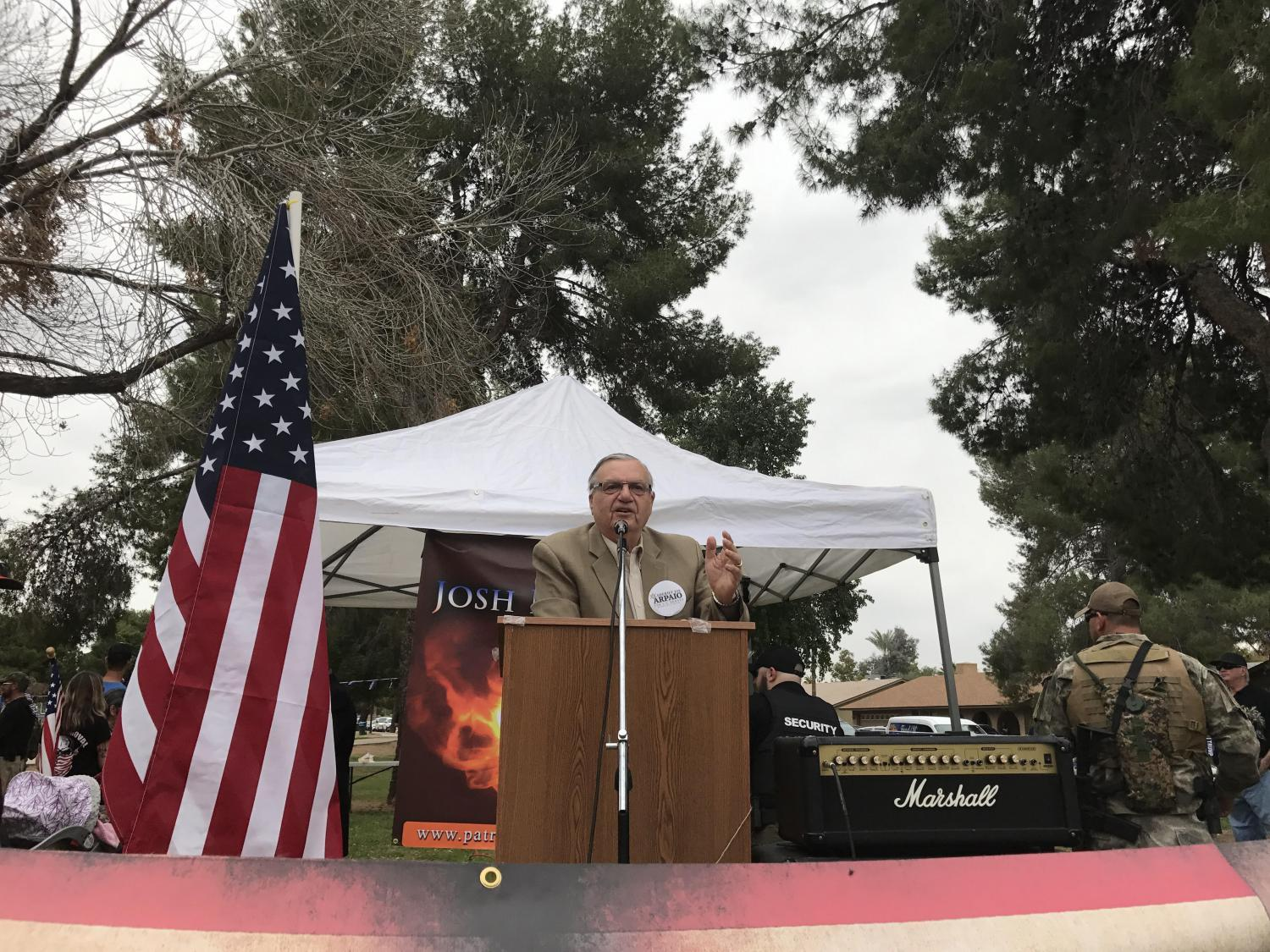 Republican U.S. Senate candidates Kelli Ward and Joe Arpaio spoke at a Make America Great Again rally in north Phoenix Saturday, March 10. Arizona conservatives gathered at Cactus Park to show their support for President Donald Trump.