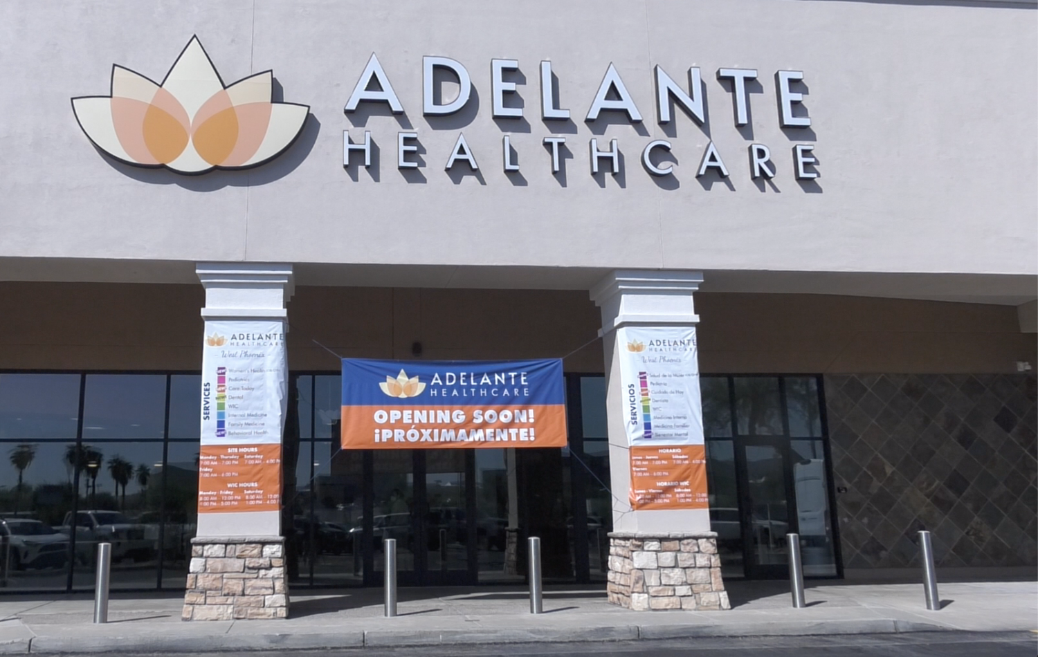 exterior of building with adelante health sign