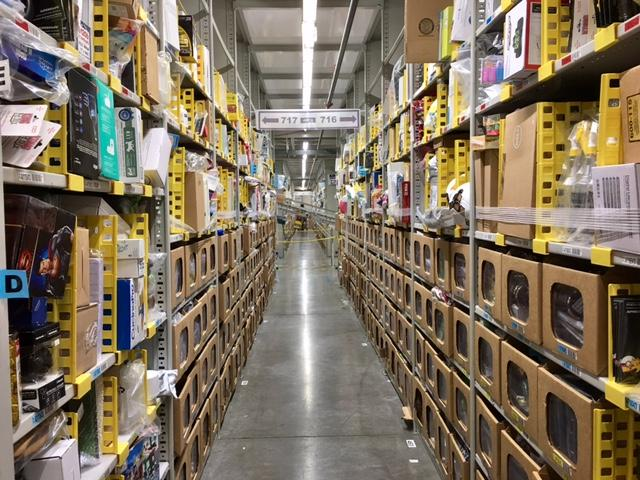 Amazon Phoenix warehouse aisles
