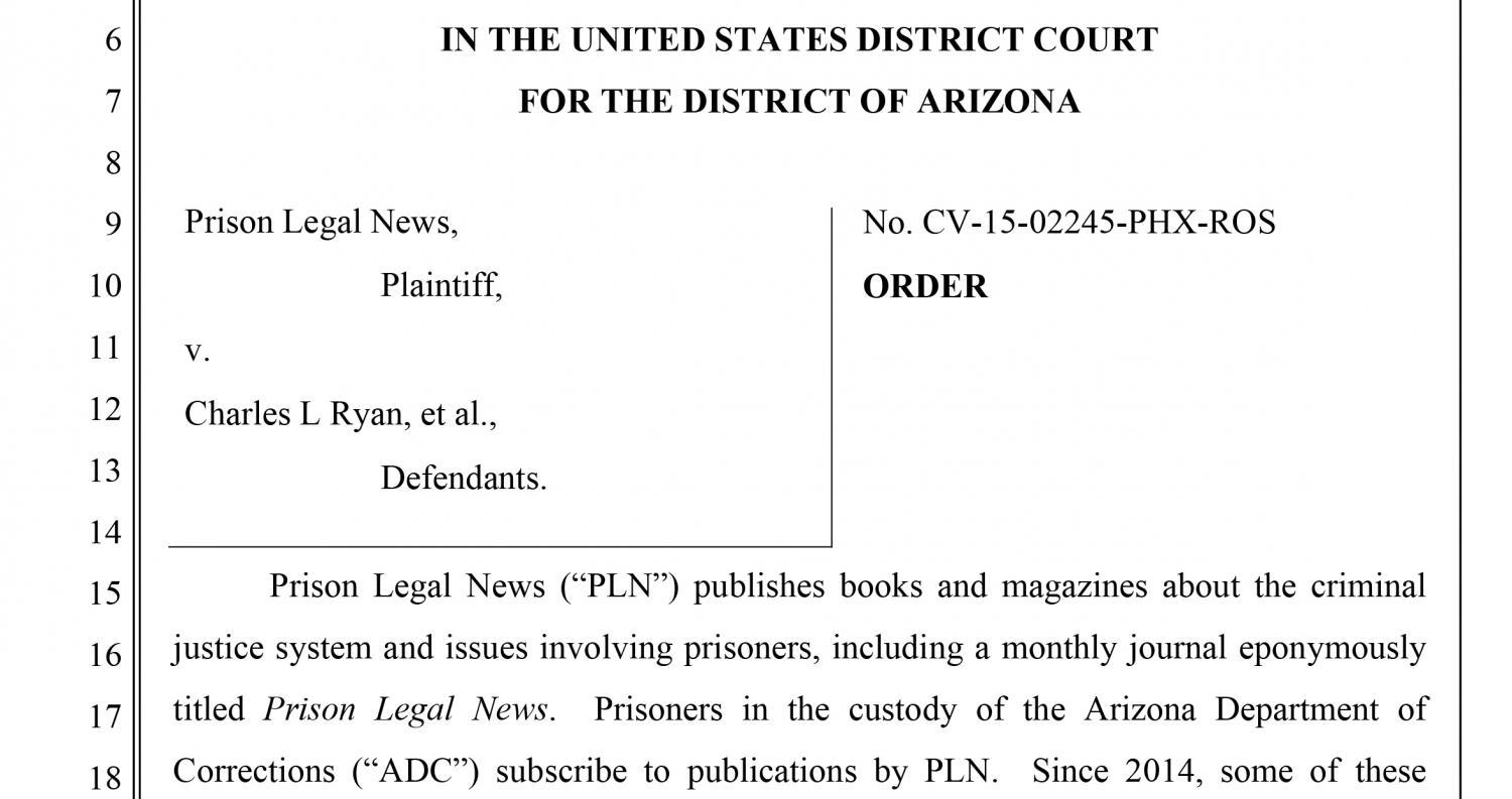 Arizona Prison Policy ruling