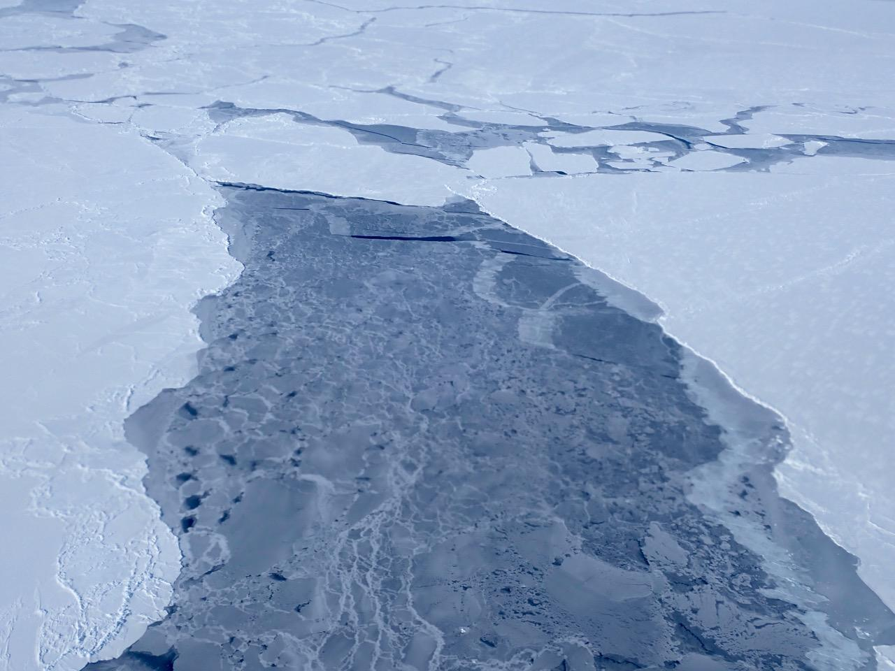 A big lead, or opening in the sea ice pack, in the eastern Beaufort Sea
