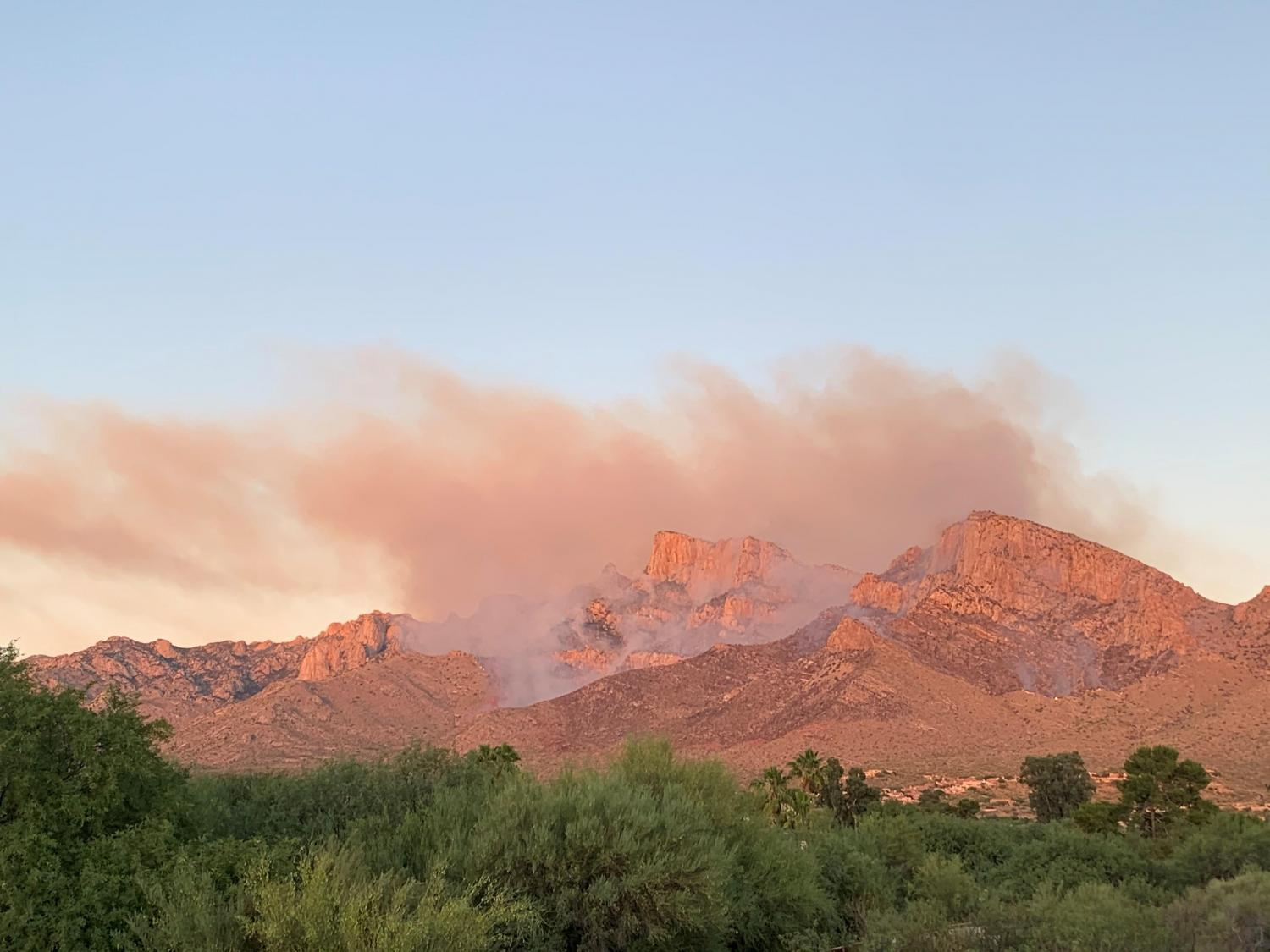 Smoke from the Bighorn Fire seen from Oro Valley