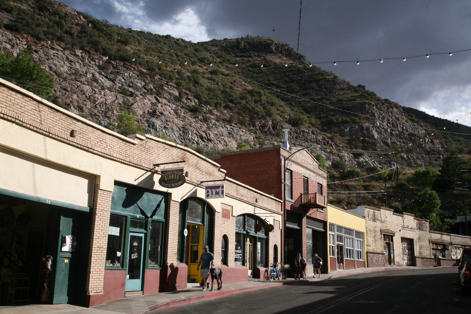 Bisbee with a dark sky