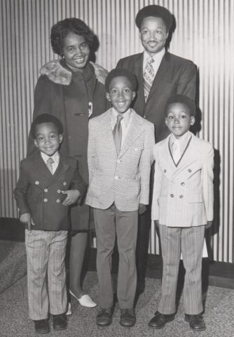 black and white photo of goode family
