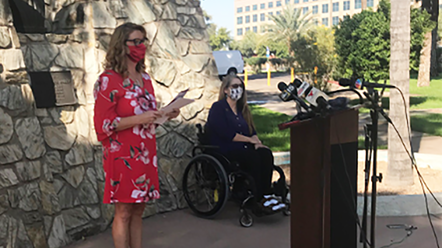 Dana Marie Kennedy speaks at a press conference