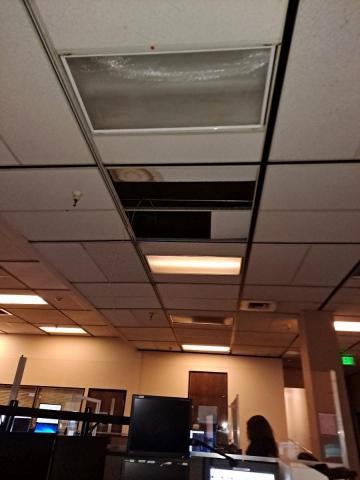 wide photo showing missing ceiling tiles