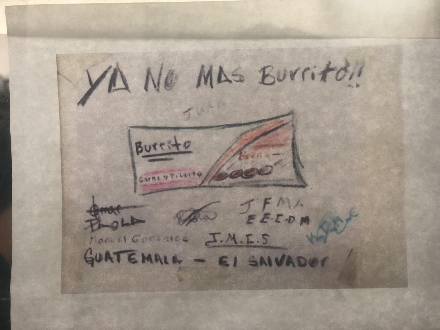 A drawing by a migrant child at Casa Alitas of the burritos given in Border Patrol custody