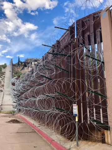 Concertina wire on the U.S. fence