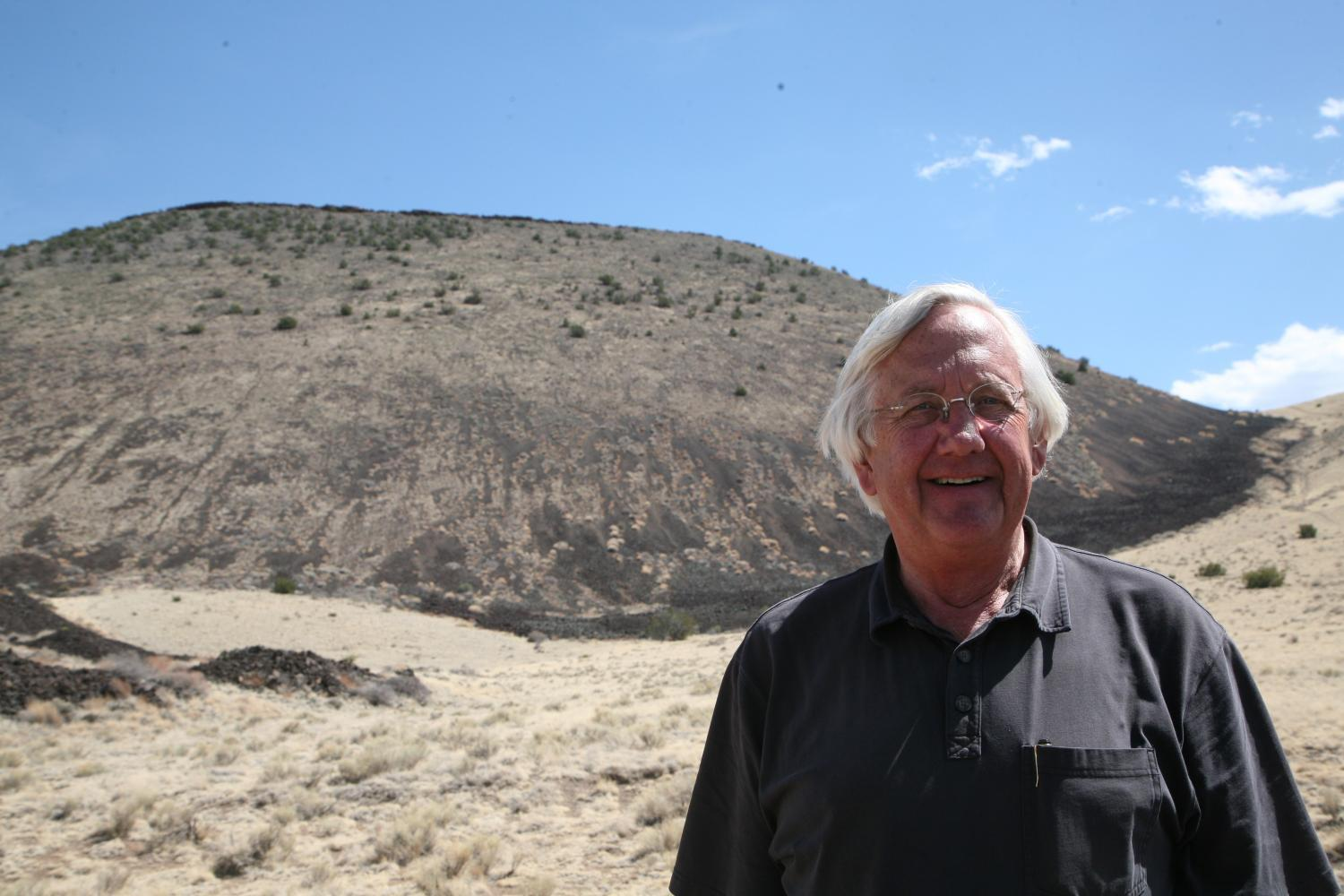 Jim Babbitt, standing in front of SP Crater