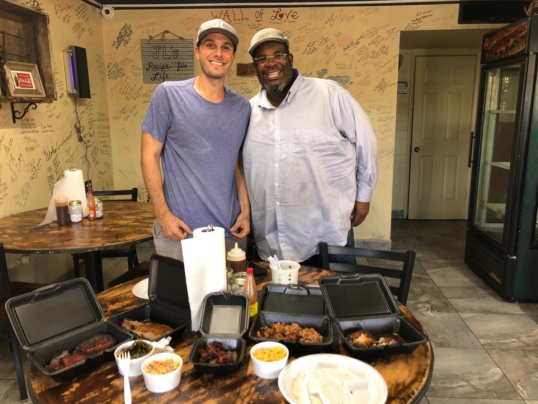 food editor Chris Malloy and James Lewis at JL Smokehouse