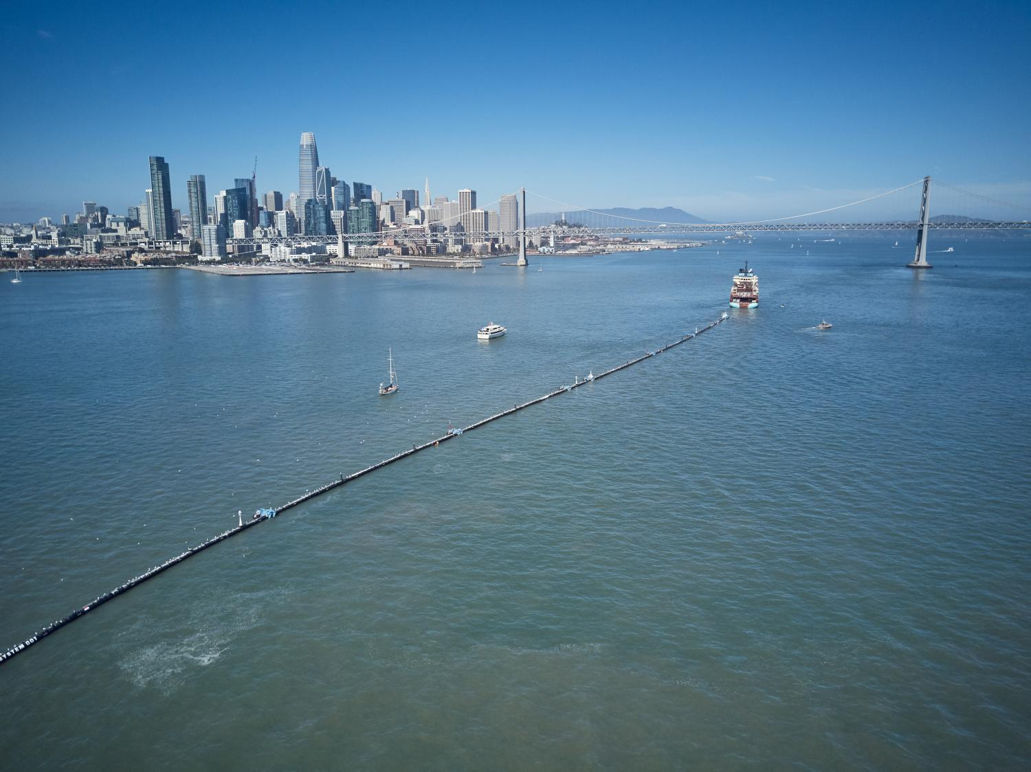 Ocean Cleanup being towed through San Francisco Bay, September 8.