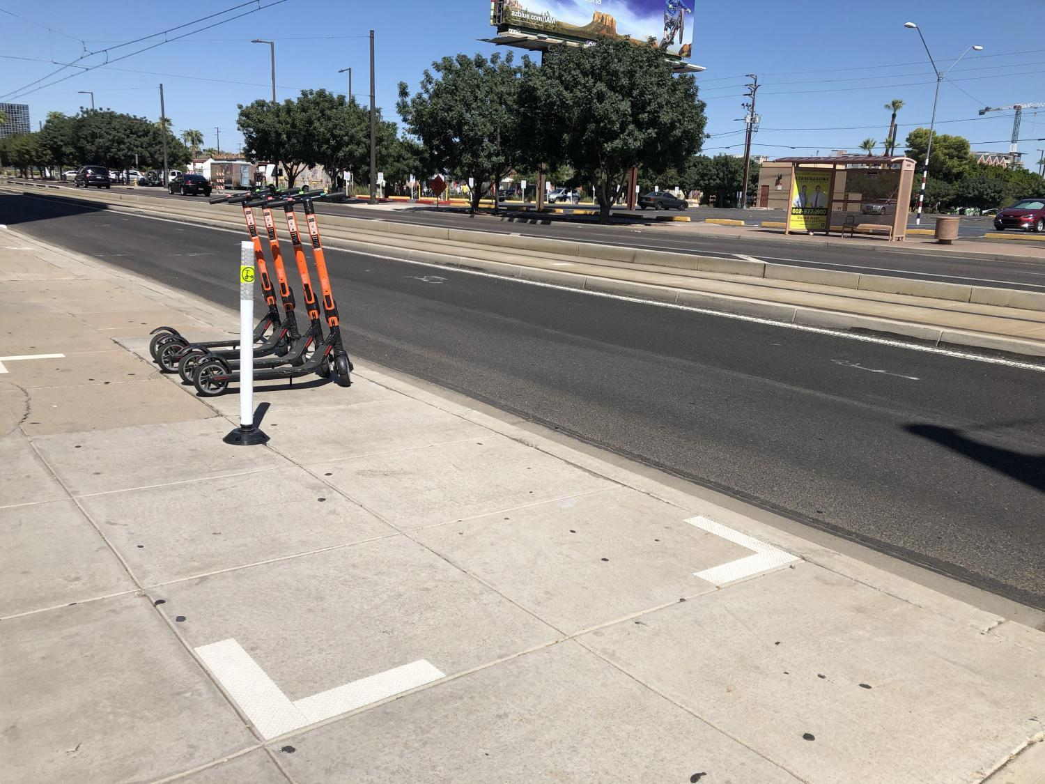 One of 400 e-scooter corrals in downtown Phoenix.