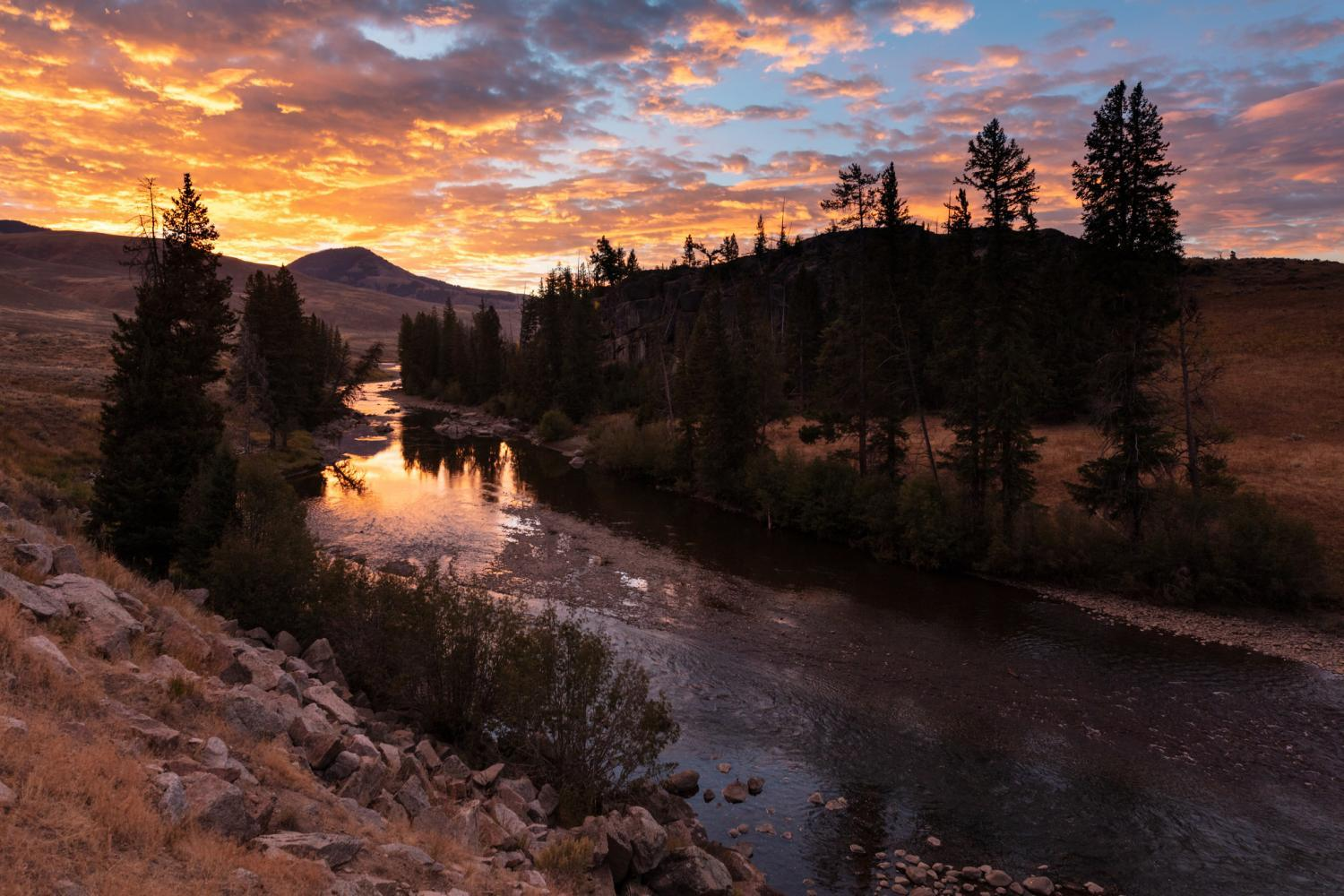 Sunrise over Lamar River at Yellowstone National Park