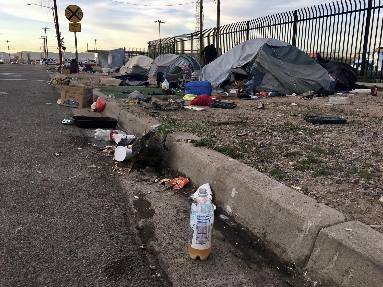 trash outside tents