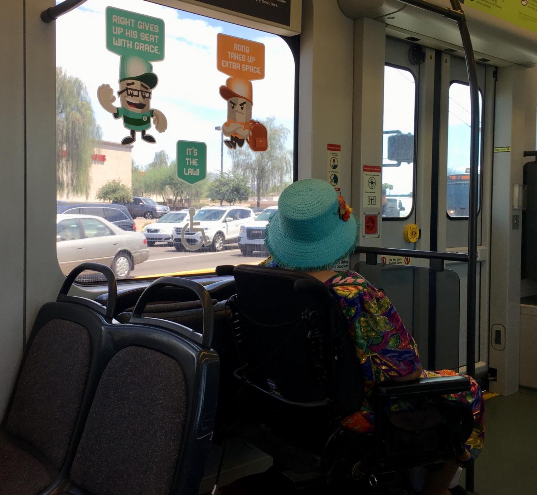 wheelchair user on train