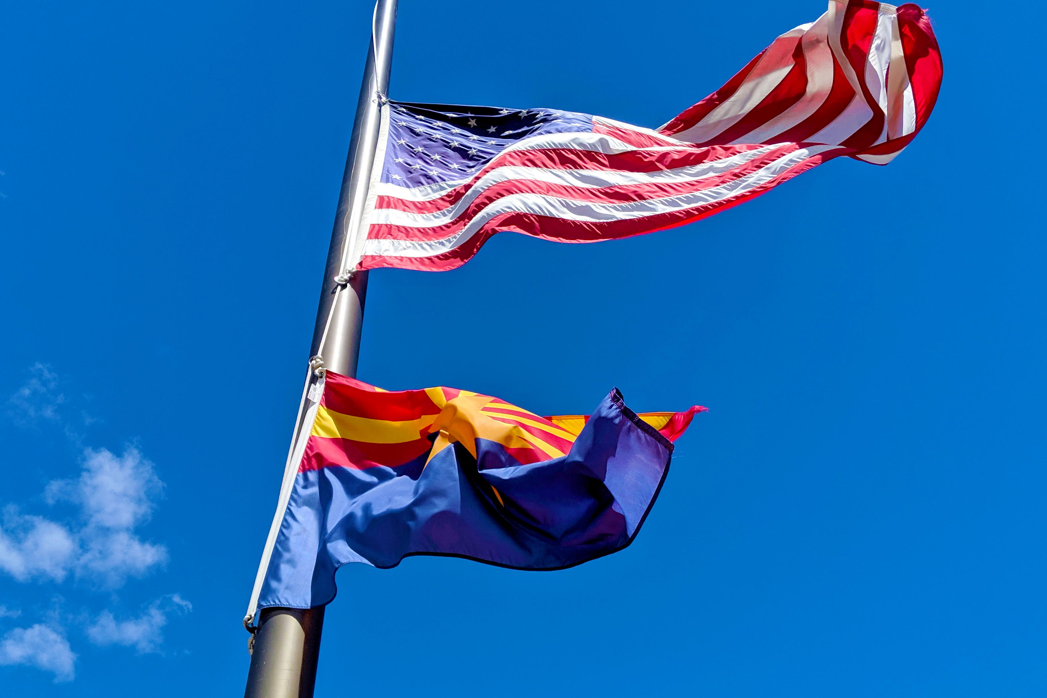 U.S. and Arizona flag