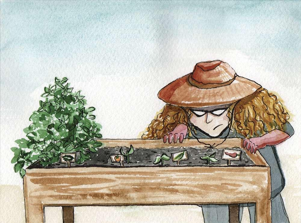 illustration of amy silverman in a garden