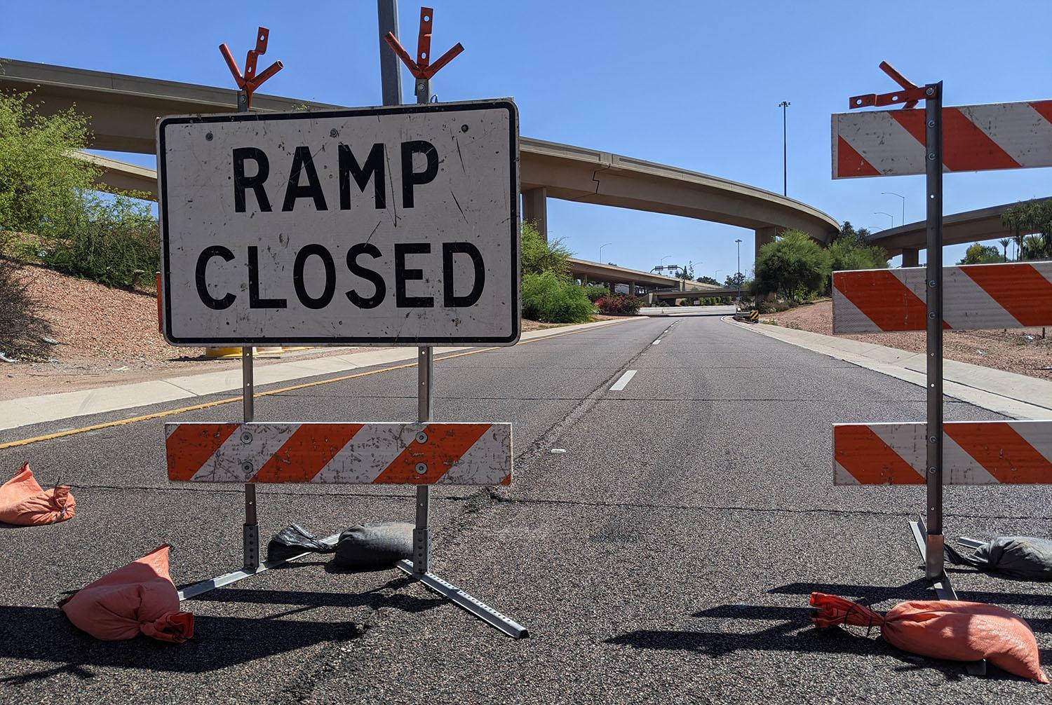 A ramp closed for construction on Loop 101