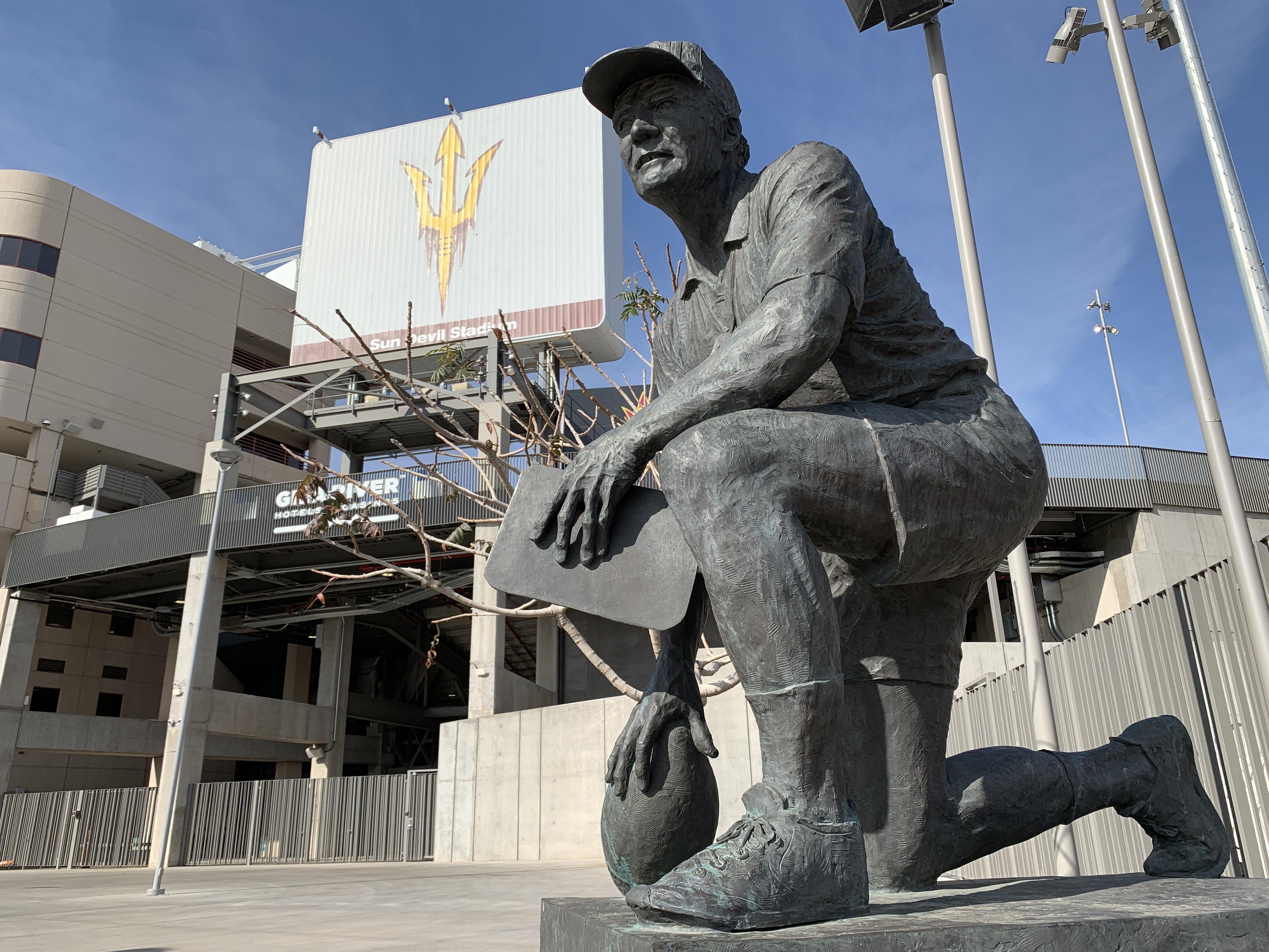 ASU Football Sun Devil Stadium Frank Kush statue