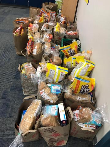 Bags of groceries collected for Longview Elementary students