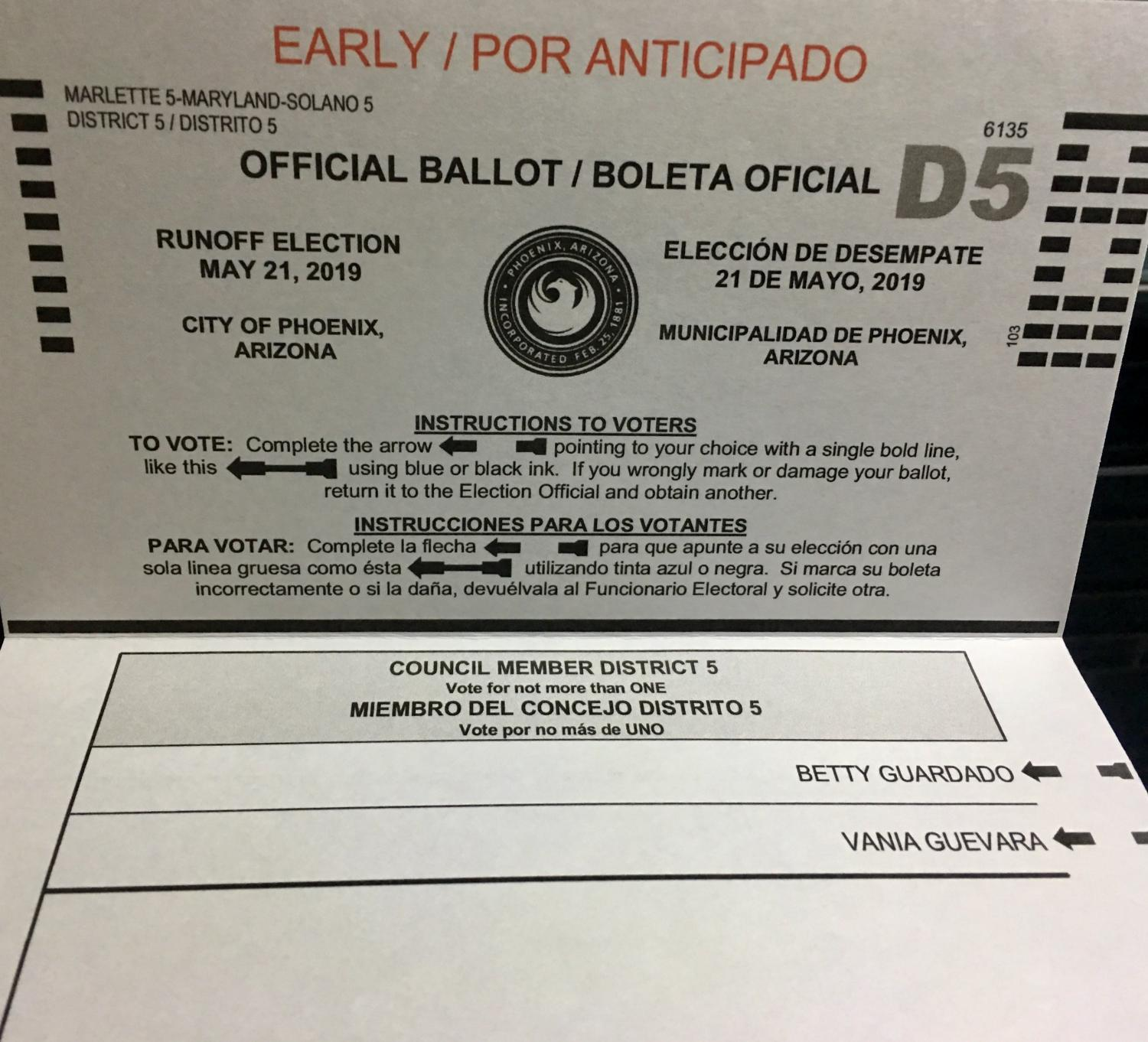 district 5 ballot with candidate names