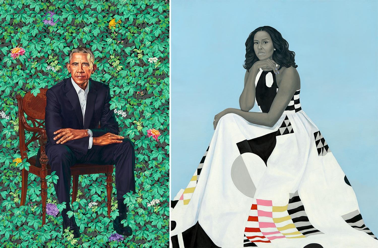 Barack Michelle Obama presidential portraits