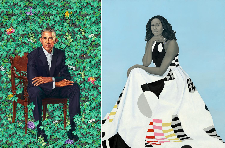 Barack Michelle Obama presidential portraits