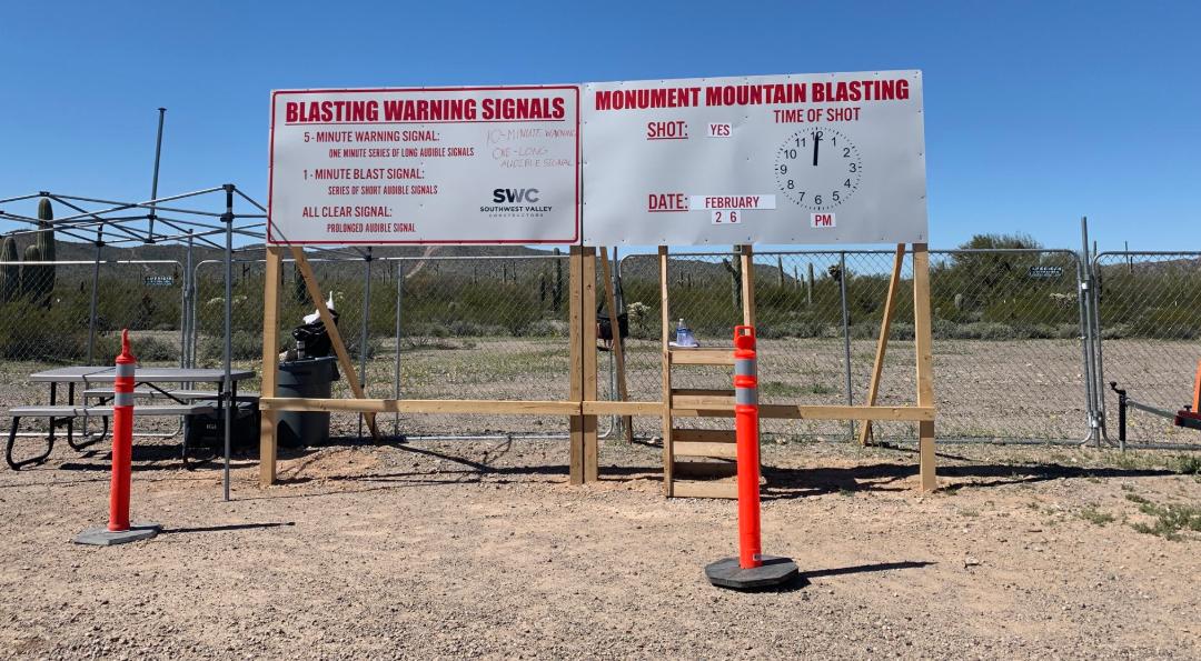 blasting site warning signs