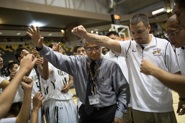 Chinle High School basketball coach Raul Mendoza