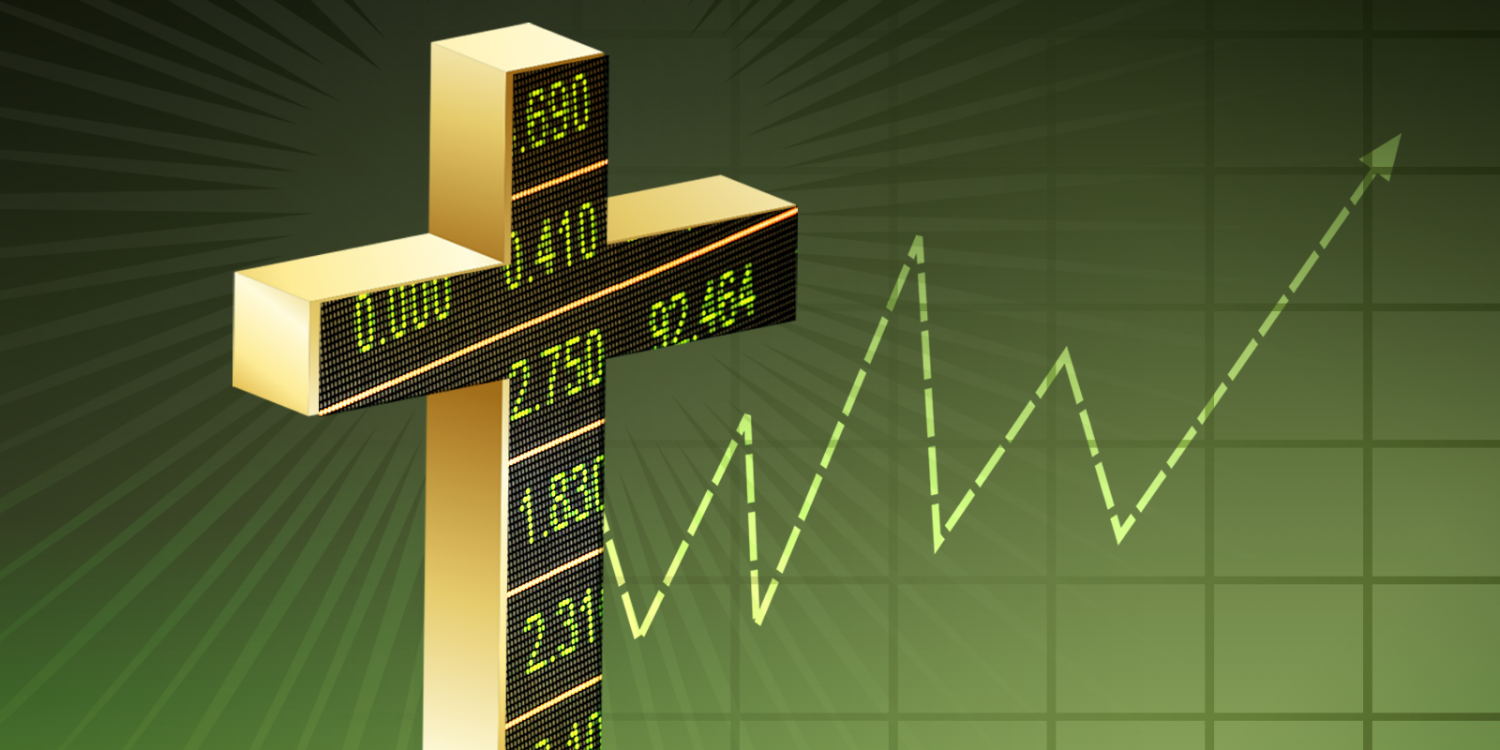 cross with stock market graphic