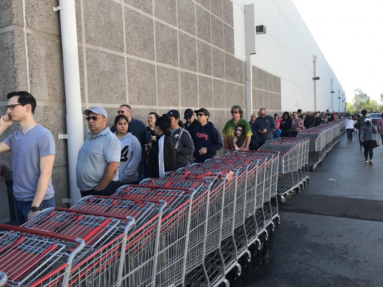 A line outside a Costco in Tempe