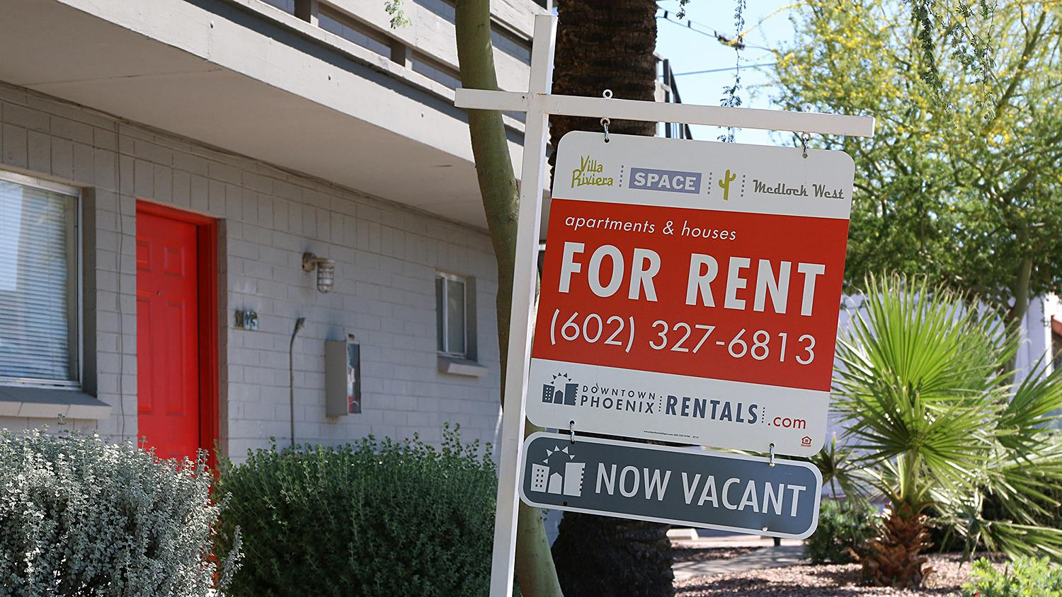 For rent sign now vacant