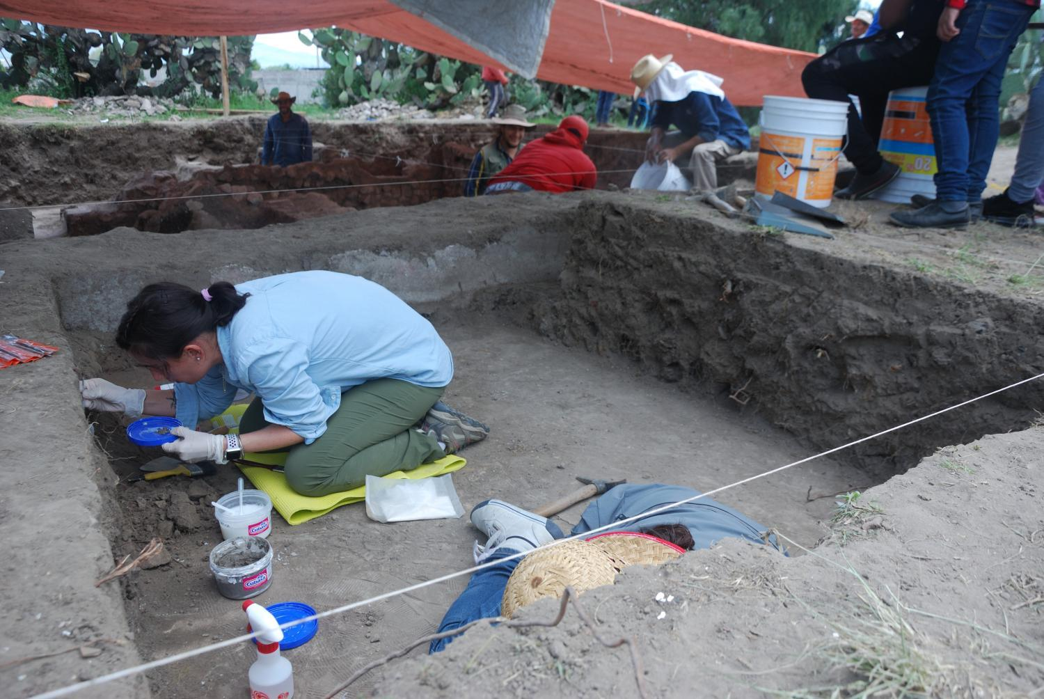Daniela Hernandez Sariñana works to preserve artifacts found in an archeological dig in the ancient city of Teotihuacan.