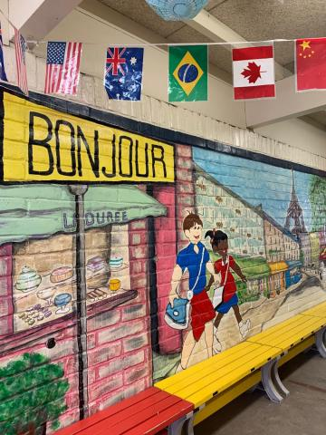 French American Academy Bonjour mural