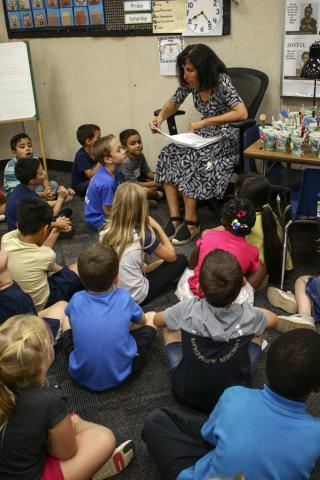 Gina Ucci reads to her students