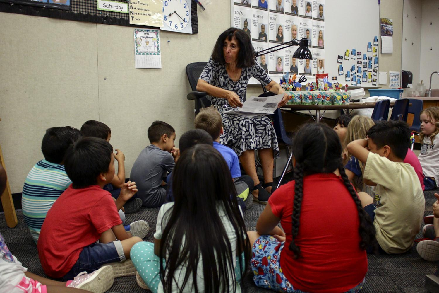 Gina Ucci reads to her class