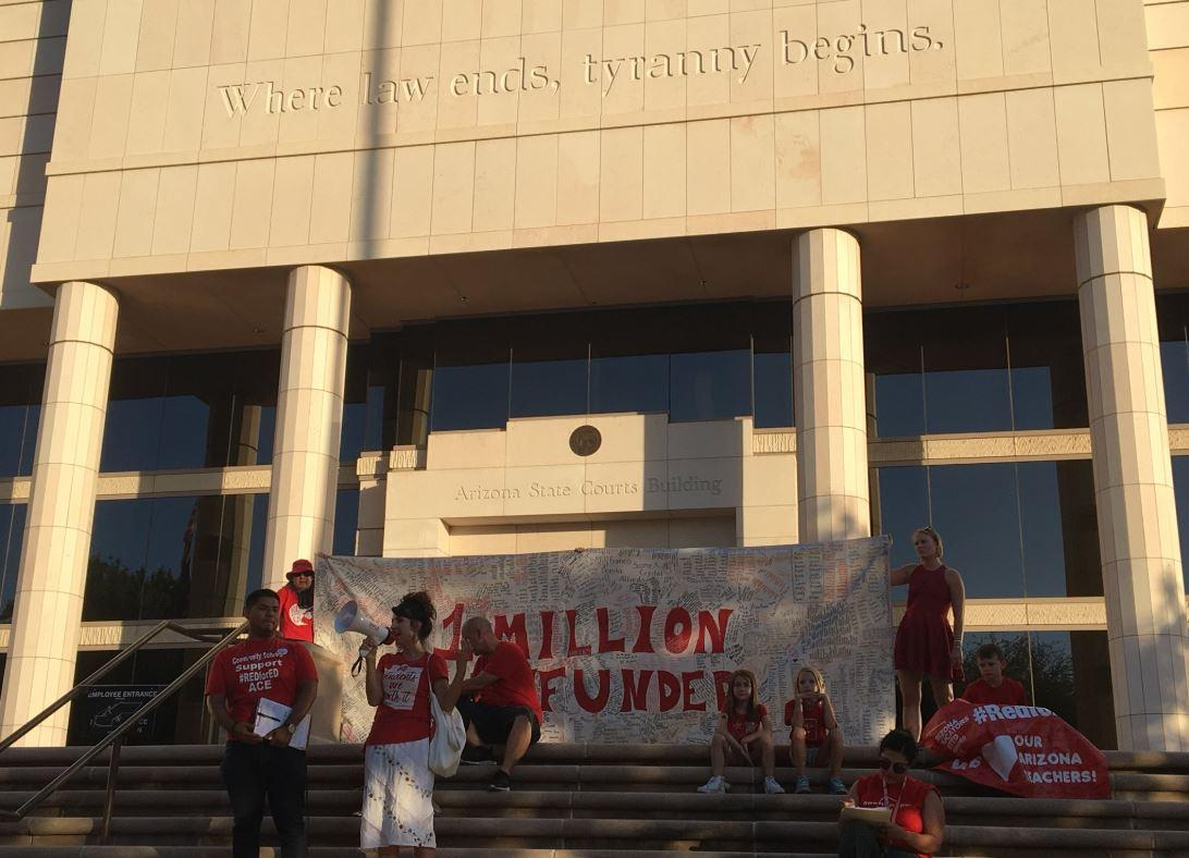 teachers and activists gathered outside Arizona's Supreme Court