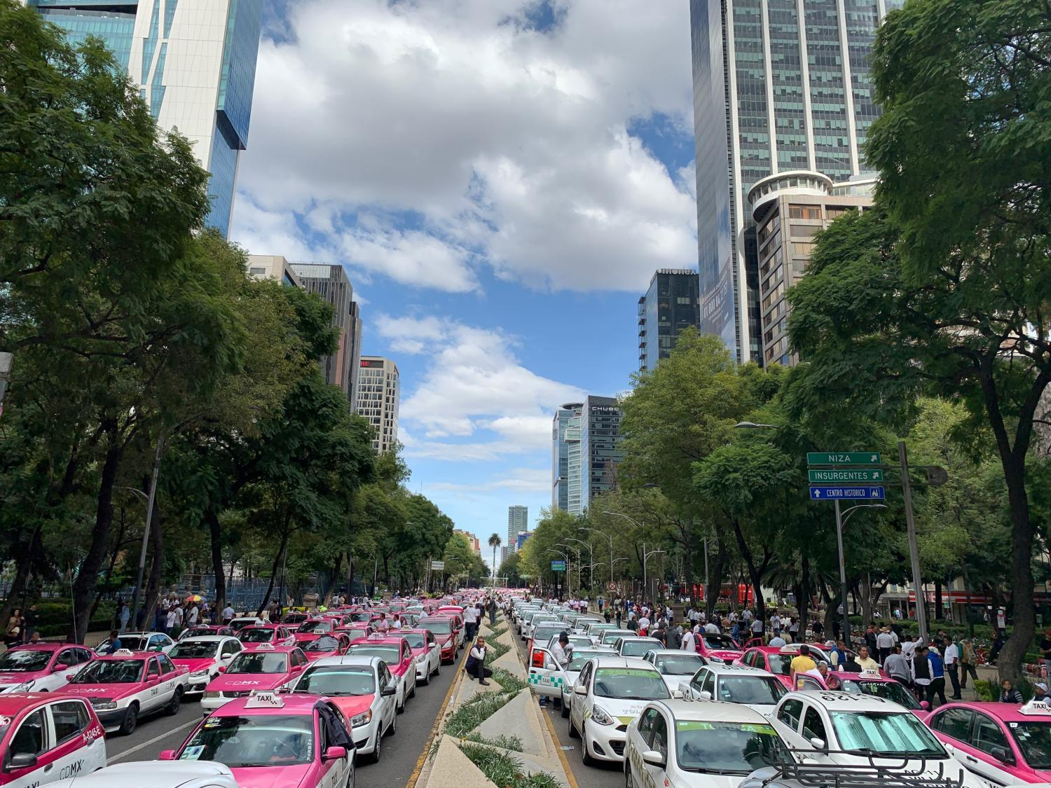 Mexico City taxi drivers blocked major streets to protest Uber.