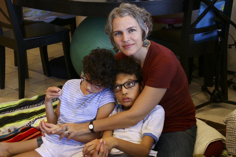 Heather Joy Magdelano and her children Camila and Soliz.