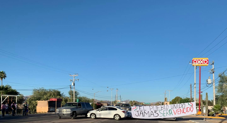 Protesters in Sonoyta, Sonora
