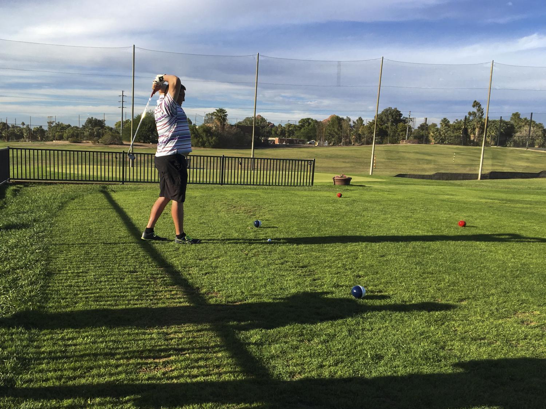 George Murphy golfing